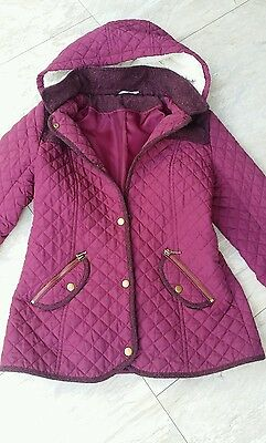 Girls Nice Hooded Winter Coat Age 13/14 Yrs Height 158-164 Very Good Condition