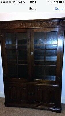 Old Charm Oak Display Cabinet