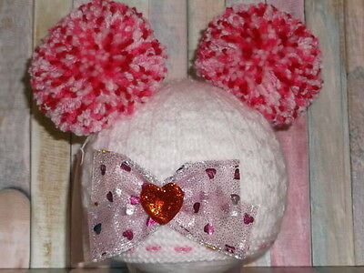 0-3mth. new hand knitted baby hat double pompom elf/pixie photo prop/gift.