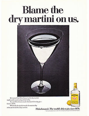 Original Print Ad-1968 Blame the Dry martini on us. Fleischmann's Gin-Since 1870