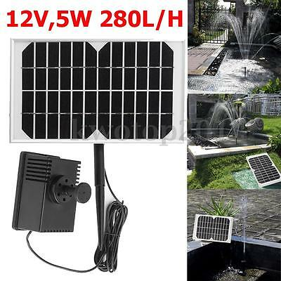12V 5W Solar Power Fountain Garden Pond Pool Water Feature Submersible Pump Kit