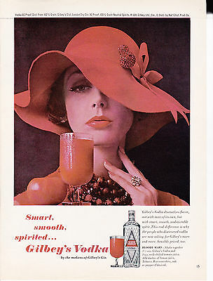 Original Print Ad-1962 GILBEY'S VODKA Smart Smooth Spirited-Bloody Mary Red Hat