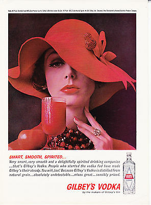 Original Print Ad-1961 GILBEY'S VODKA Smart, Smooth, Spirited-Woman in Red Hat