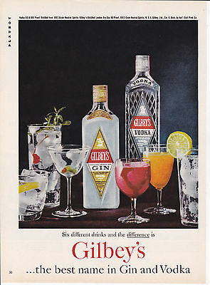 Original Print Ad-1961 GILBEY'S the best name in Gin & Vodka-6 Different Drinks