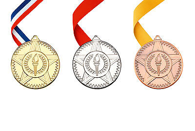 Multi Sport Victory Torch Metal Medals & Ribbon Gold, Silver, Bronze FREE P&P!