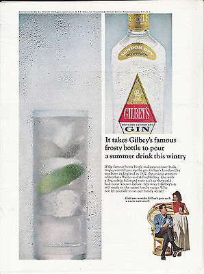 Original Print Ad-1965 It takes Gilbey's famous frosty bottle…LONDON DRY GIN