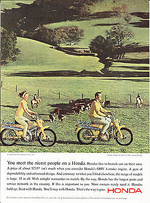 Original Print Ad-1965 HONDA TRAIL 90-You meet the nicest people on a Honda $215