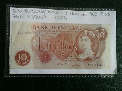Bank of England Ten Shilling Note, J Hollom 1962-1966 , 76H 839063 used