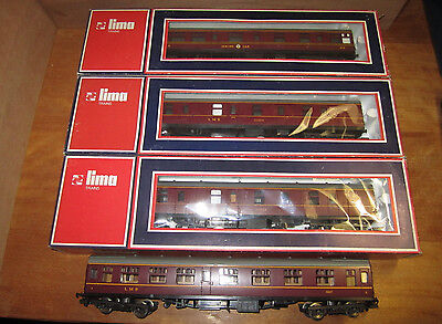 Lima Italy 4 Ho Oo Lms Bogie Passenger Coaches: Dining Corridor Guard. 3 Boxed