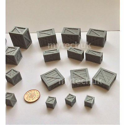 x24 MIXED Pack Wargames 28mm 40k Cargo Ammo Amo Crates Fantasy Gaming & Scenery