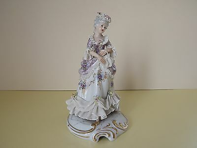 Antique Capodimonte Lady Figurine with Dresden Lace (L65,83)