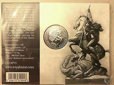 UK £20 Fine Silver Coin A Timeless First The George And The Dragon 2013