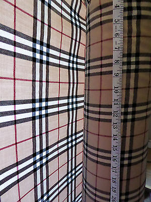 "Black Tan & Red 100% Wool Fabric 60"" Wide Burberry Check Tartan"