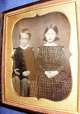 Daguerreotype Young Brother And Sister Cute Pose