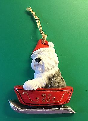 Old English Sheepdog Christmas Hanger by Helen Dudley