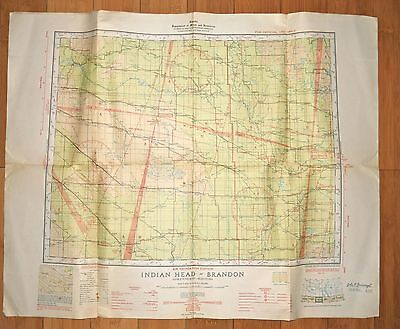 Original War Ww2 Wwii 1942 Air Navigation Edition Map Indian Head Brandon Canada