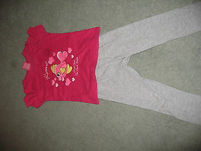 Girls Pink Austrailian Top with Grey Leggings Age 3/4