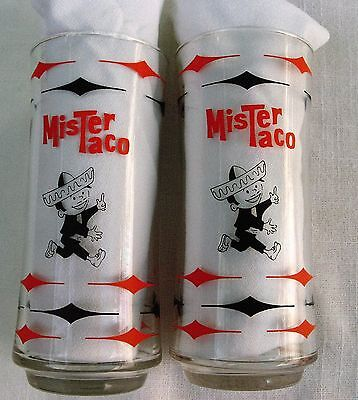 Vintage Mister Taco Mexican Restaurant 2 Glasses Tumblers Advertising Fast Food