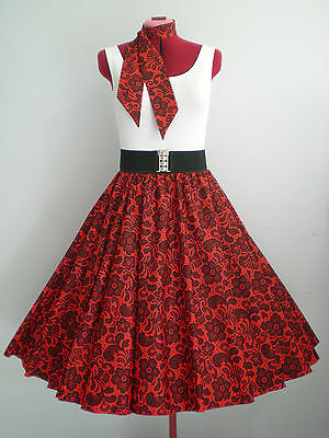 "ROCK N ROLL/ROCKABILLY ""Lace"" SKIRT & SCARF M-L Red/Black."