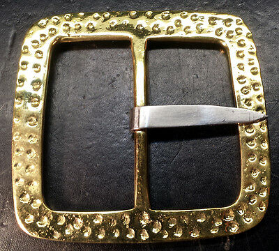 "Square Hammered Brass Buckle 3"" inch Pirate Western Pirate SCA LARP Renaissance"