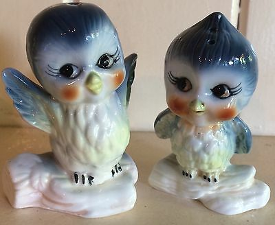 Vintage bluebird salt and pepper shakers