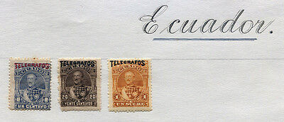 Ecuador Set of 3 mint hinged stamps overprinted TELEGRAFOS 1892 -FREE UK POSTAGE