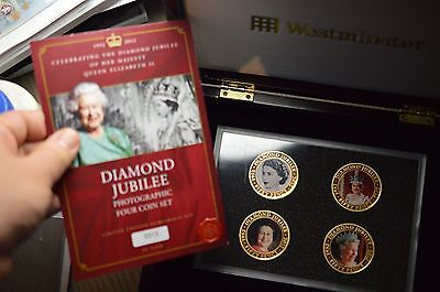 4 X 50P 2012 Queen Elizabeth Ii Crown Coin Gold Plated 50 Pence Collection
