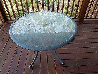 Small Round Glass Outdoor Table - No Chairs