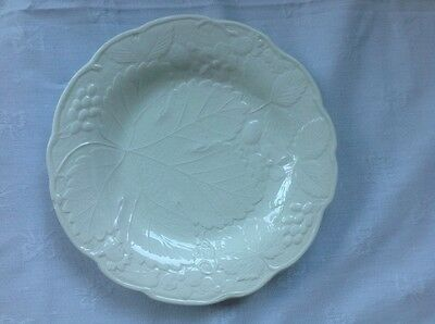"3 Vintage Davenport/Burleigh 8"" plates embossed leaf/strawberry/flower/grapes"