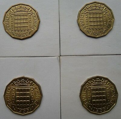 Queen Elizabeth I 1961 and 1965  Brass Threepence  unc 4 coins