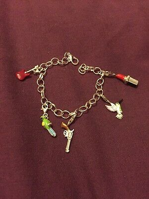 New  Silver Charm Bracelet With 5 Clip On Charms Not Thomas Sabo