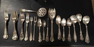 Lot Of 30 Pcs Silverplate Wm Rogers Mixed Spoons Forks Serving Pieces