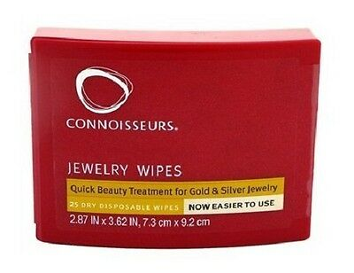 Connoisseurs Jewelry Cleaning Wipes for Gold & Silver Jewelry 1 box of 25 wipes