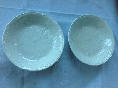 4 Vintage Davenport/Burleigh bowls embossed leaf/strawberry/grapes IMPERFECT