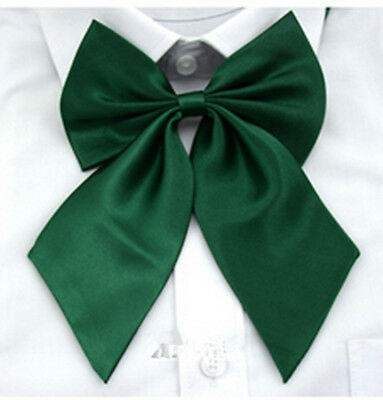 Green Womens Girls Fashion Party Banquet Solid Color Adjustable Bow Tie Necktie