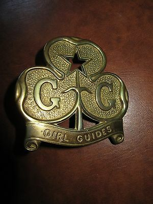 Vintage Girl Guide Flag staff cap badge - brass