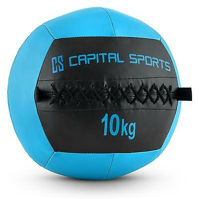 PROMO WALL BALL 10KG CUIR SYNTHETIQUE BLEU FONCE TRAINING FITNESS Training MUSCU