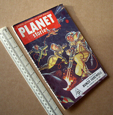 1950s Planet Stories #8 Vintage British Sci-Fi Pulp Mag Very Fine Cover Art