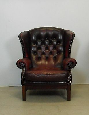 Oxblood Leather Chesterfield Wing Back Chair Armchair