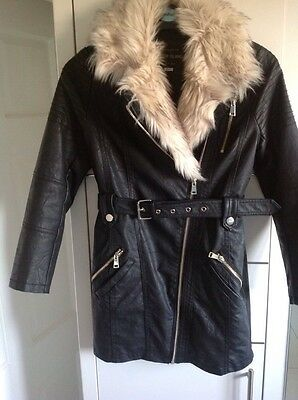 girls River Island faux leather coat age 10