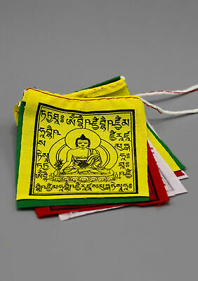 Medicine Buddha Cotton Tibetan Baby Prayer Flags, Small Healing Flags