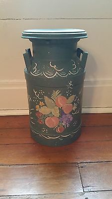 Vintage Milk Can Green with Hand Painted Floral Design Buffs Dairy, PA Inc