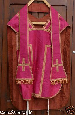 Fiddleback Chasuble in Vibrant Fushia Silk Gold & Red  Silk Fringing Fully Lined