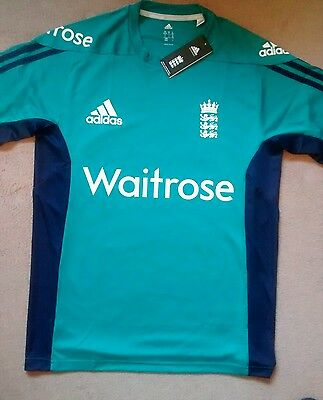 "Adidas England ECB Cricket Green Top Size 40/42""  Medium / Large - BNWT"