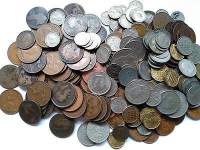 BULK LOT: 1.8kg Mixed Pre-Decimal UK Coins. Vic to QE2, Farthing to Half Crown