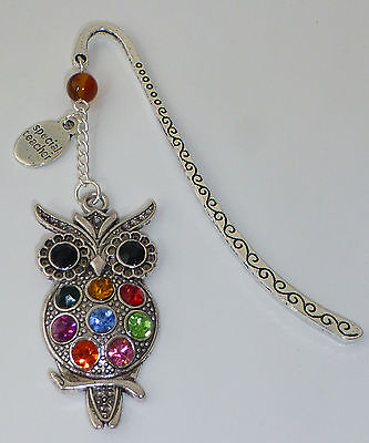 Large Stunning Coloured Crystal Owl Bookmark - Thank You Gift - School Teacher