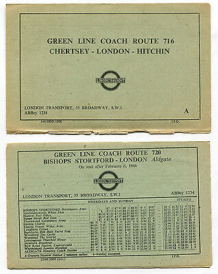 London Transport Green Line Routes 716 and 720 Leaflets 1946 - FREE UK POSTAGE
