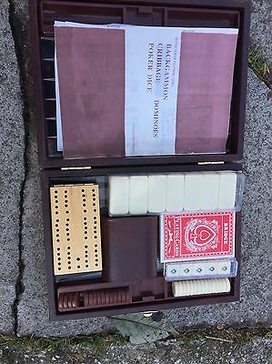 5 X Boxes Games Dominos Dice Backgammon Etc Wooden Box