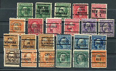 Small lot of 23 Wash-Franks precancel used stamps