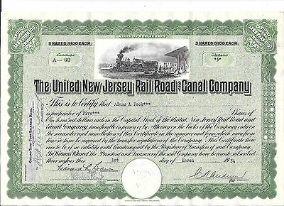 United New Jersey Railroad And Canal---1954--Stock Certificate